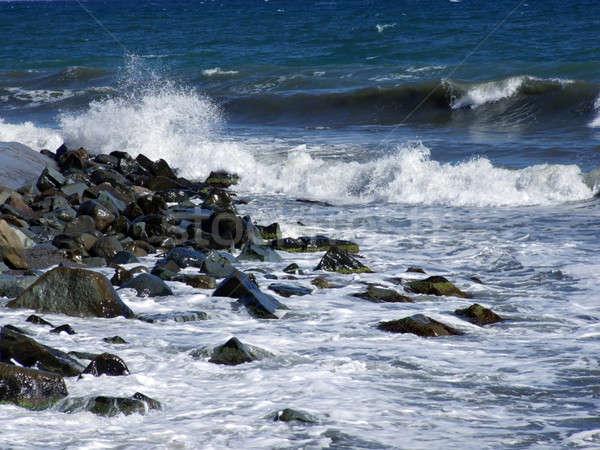 Mojado piedras olas negro mar resumen Foto stock © acidgrey