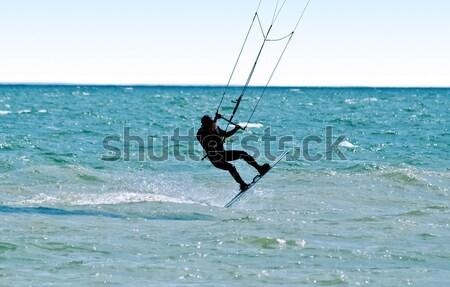 シルエット カイト ファー 海 空 水 ストックフォト © acidgrey