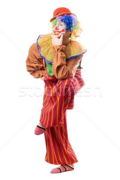 Drôle clown permanent une jambe isolé Photo stock © acidgrey