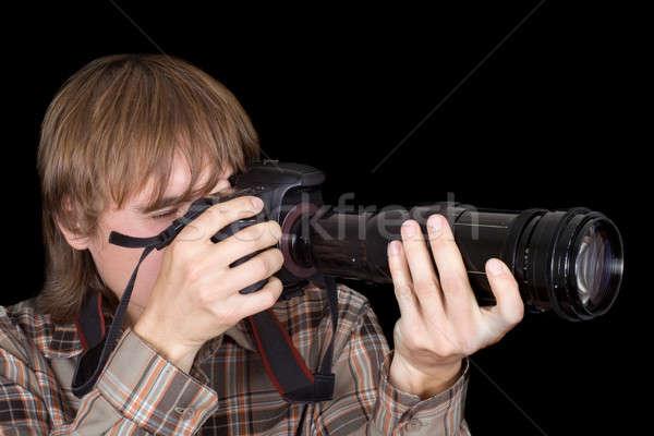 Fotós kamera zoom lencse fekete fiatal Stock fotó © acidgrey