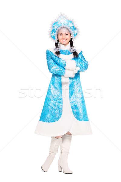 Young brunette wearing like snow maiden Stock photo © acidgrey