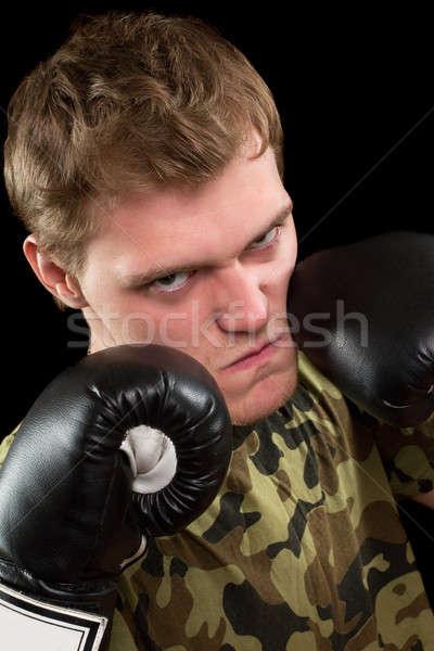 Zdjęcia stock: Młody · człowiek · rękawice · bokserskie · zły · odizolowany · czarny · twarz