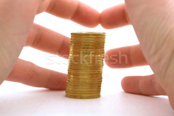 Kapzsiság pénz pénzügy arany siker pénzügyi Stock fotó © acidgrey