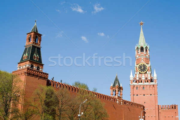 Kremlin wall with a clock in Moscow Stock photo © acidgrey