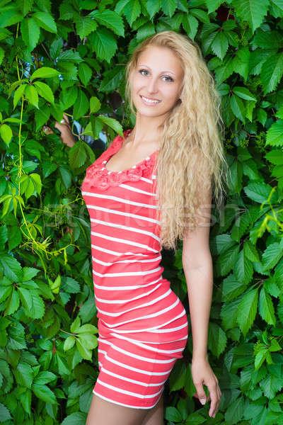 Bella donna rosso stretto strisce Foto d'archivio © acidgrey