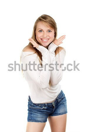 Woman demonstrating her smile Stock photo © acidgrey