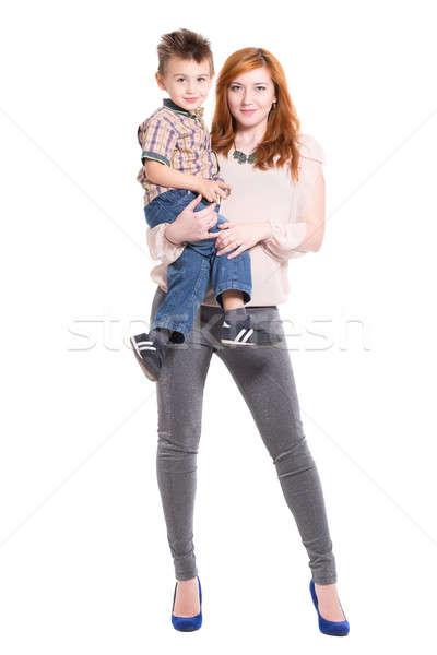 Vörös hajú nő nő pózol kicsi fiú kezek Stock fotó © acidgrey