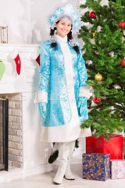 Hó hajadon kék kabát pózol karácsony Stock fotó © acidgrey