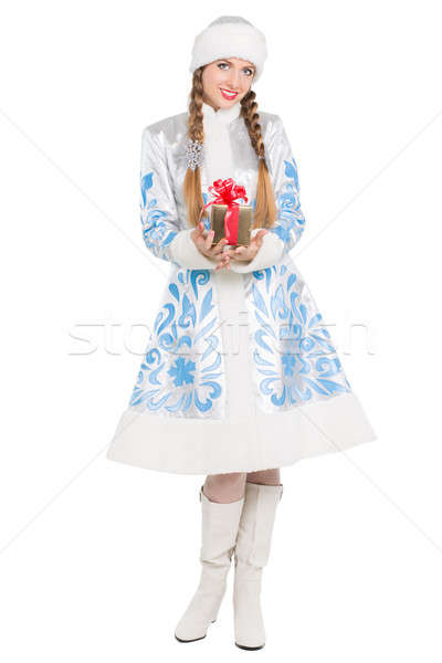 Charming woman with gift Stock photo © acidgrey