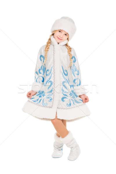 Zdjęcia stock: Dość · dziewczynka · śniegu · kostium