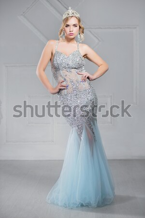 Blonde wearing evening dress Stock photo © acidgrey