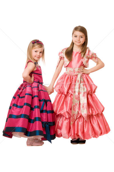 Kislányok hosszú ruha kettő aranyos divat Stock fotó © acidgrey