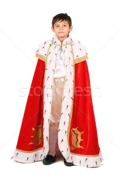 Menino rei isolado branco teatro criança Foto stock © acidgrey