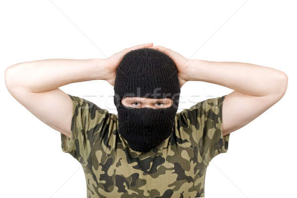 The surrendered terrorist in a black mask over white Stock photo © acidgrey