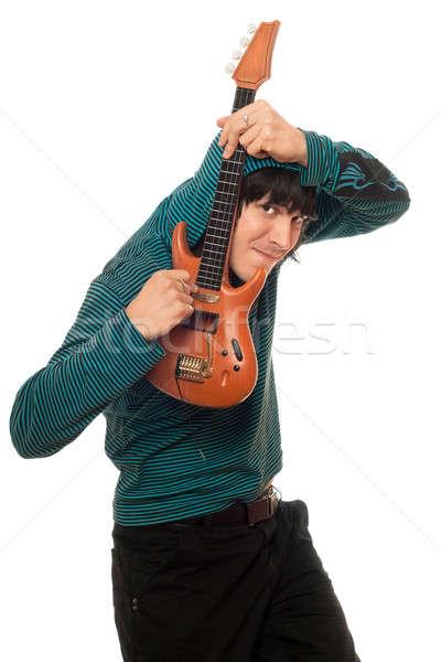 Különc fiatalember kicsi gitár zene kezek Stock fotó © acidgrey