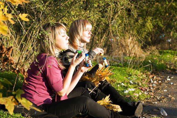 Kettő fiatal nők felfelé szappanbuborék park zöld Stock fotó © acidgrey