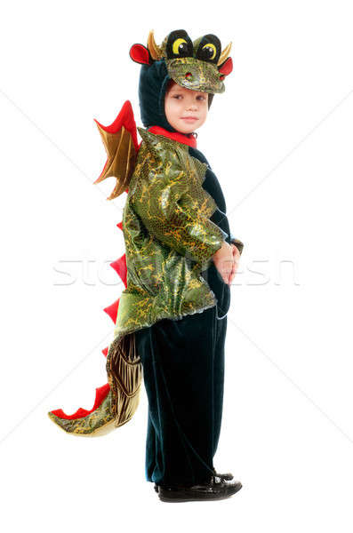 Peu Kid dragon costume isolé amusement Photo stock © acidgrey