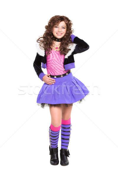 Alegre pequeño morena posando de moda ropa Foto stock © acidgrey