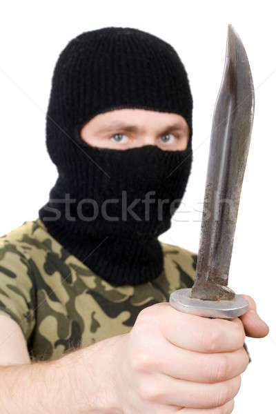 Portrait of the killer with a knife. Focus on the knife Stock photo © acidgrey