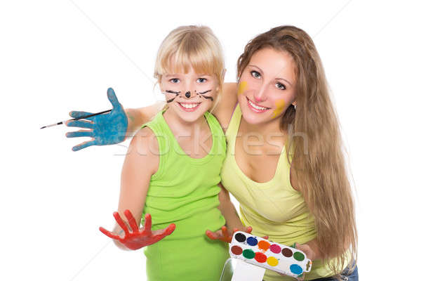 Portrait of two cheerful girls Stock photo © acidgrey