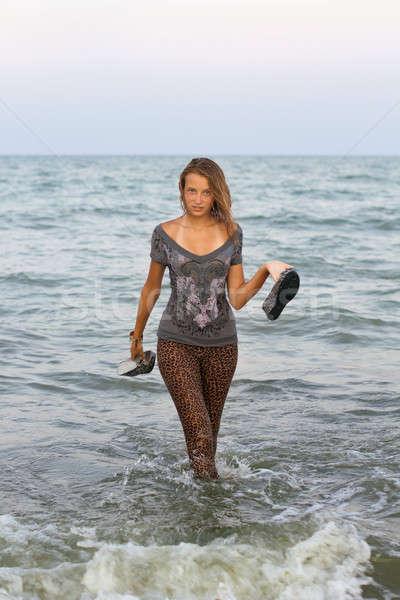 Lány nedves ruházat ki tenger nő Stock fotó © acidgrey