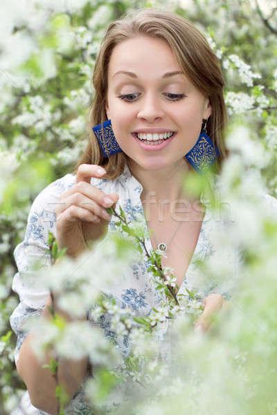Empfindlich blond Frau anfassen Zweig Stock foto © acidgrey