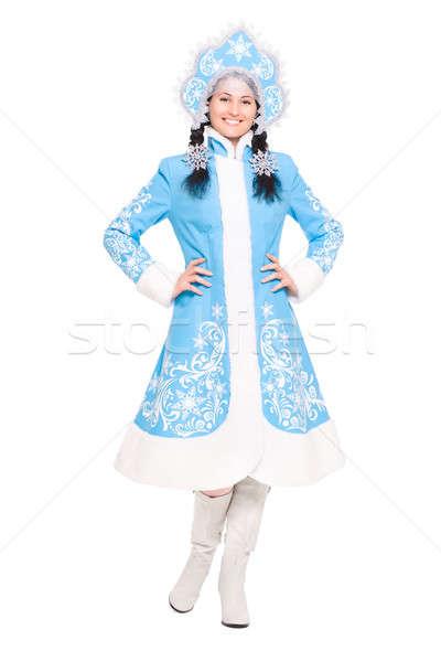 Young brunette in snow maiden costume Stock photo © acidgrey