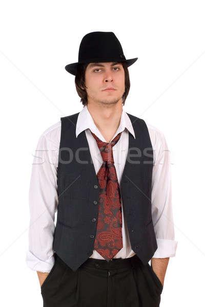 Fiatalember portré férfi művészet fekete színház Stock fotó © acidgrey
