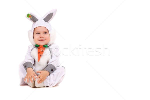 ストックフォト: 少年 · バニー · 孤立した · 白 · オレンジ