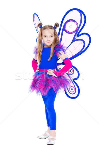 Hermosa nina azul rosa mariposa traje Foto stock © acidgrey