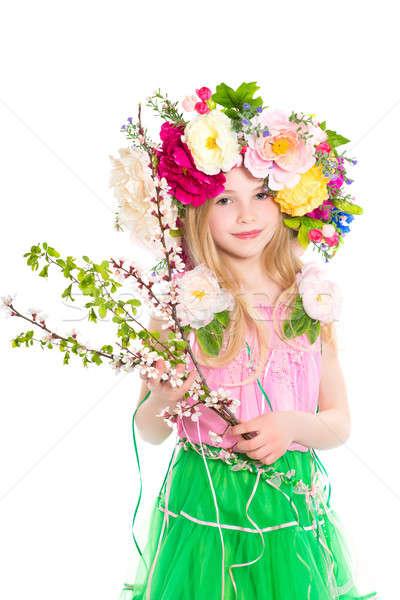 девушки цветения портрет девочку изолированный Сток-фото © acidgrey
