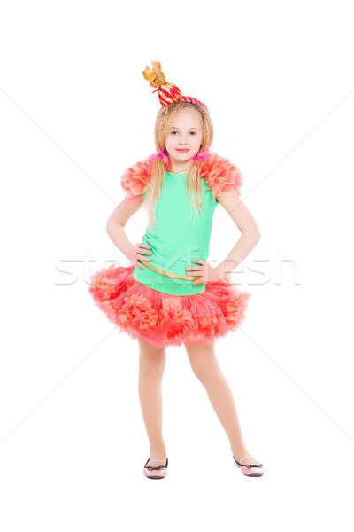 Photo stock: Belle · fille · posant · bonbons · costume · isolé · blanche