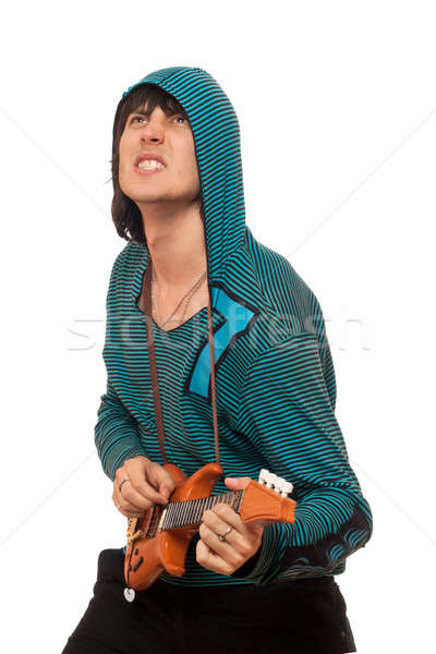 Expressive man with a little guitar Stock photo © acidgrey