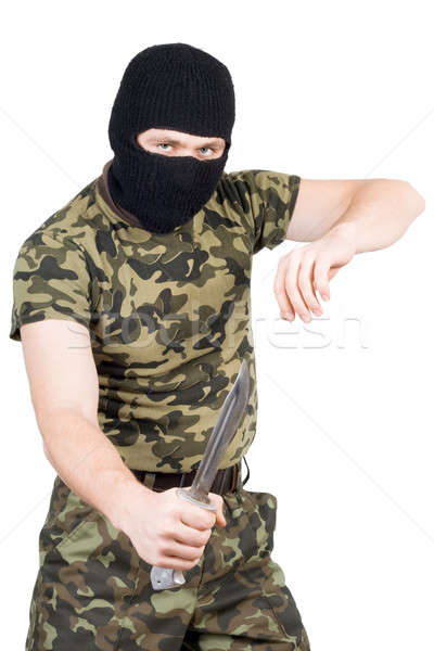 The criminal with a knife in a black mask over white Stock photo © acidgrey