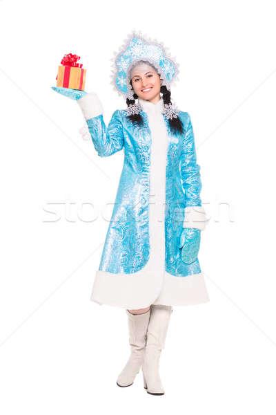 Fiatal barna hajú öltöny hó hajadon izolált Stock fotó © acidgrey