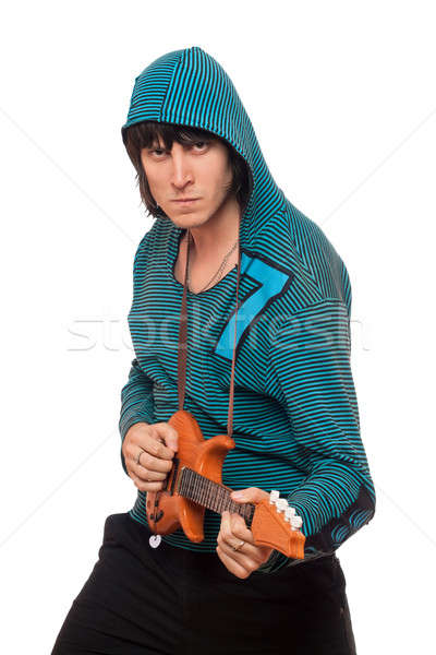 Bizarre man with a little guitar. Isolated Stock photo © acidgrey