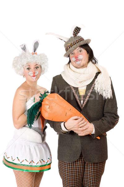 Retrato funny Pareja moda naranja traje Foto stock © acidgrey
