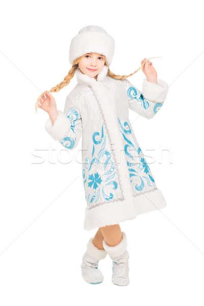 Juguetón nina posando nieve traje Foto stock © acidgrey
