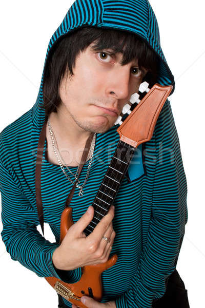 Bizarre young man with a little guitar. Isolated Stock photo © acidgrey