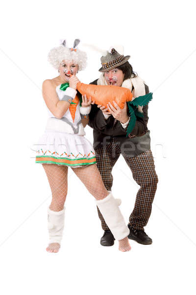 Funny couple dressed as rabbits Stock photo © acidgrey