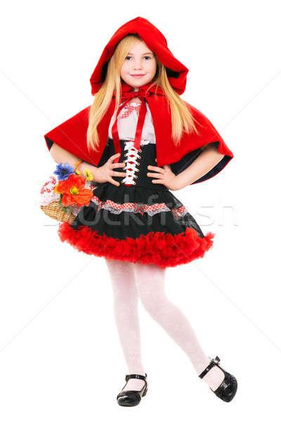Stockfoto: Cute · meisje · poseren · rode · jurk · mand · geïsoleerd