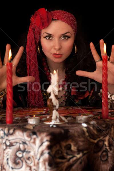 ведьмой таблице свечей изолированный черный девушки Сток-фото © acidgrey