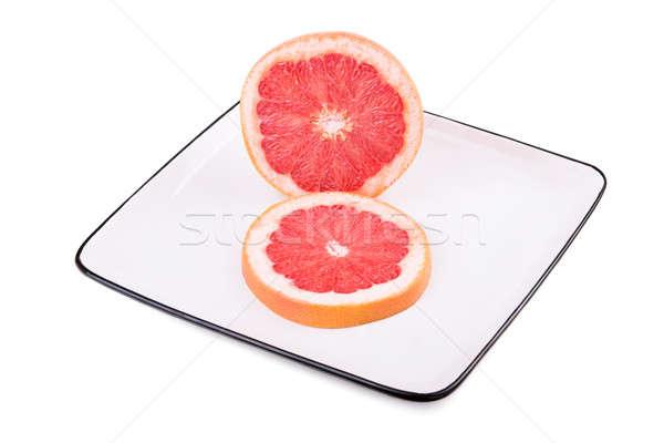 грейпфрут квадратный пластина изолированный белый мяса Сток-фото © acidgrey