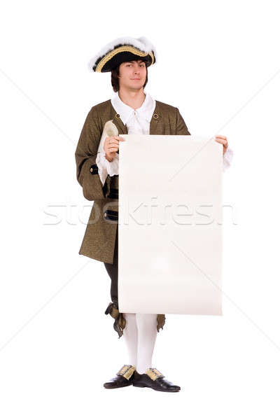 Man with the blank paper in hands Stock photo © acidgrey