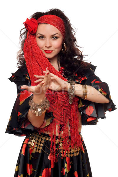 Portrait of expressive gypsy woman. Isolated on white Stock photo © acidgrey