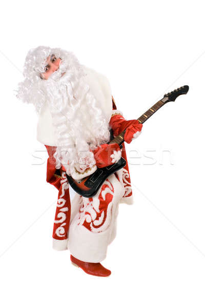 Mad Ded Moroz plays on broken guitar Stock photo © acidgrey