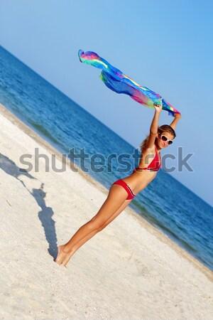 Attrattivo donna rosa posa mare spiaggia Foto d'archivio © acidgrey