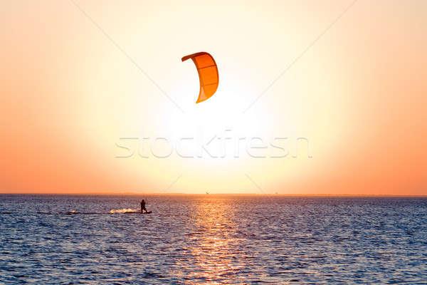 Sziluett öböl naplemente víz tenger nyár Stock fotó © acidgrey