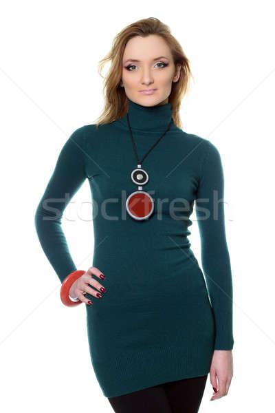 Stok fotoğraf: Güzel · genç · kadın · pantolon · portre · kazak · yalıtılmış