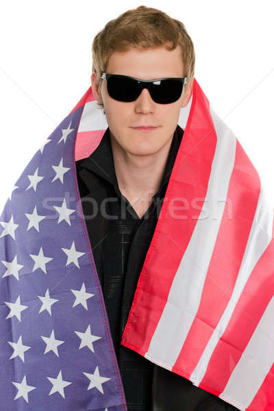 Młody człowiek amerykańską flagę odizolowany działalności człowiek biznesmen Zdjęcia stock © acidgrey